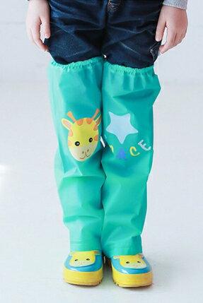 Kocotree◆ 雨天必備時尚可愛防水卡通腳套過膝雨鞋套兒童腿套-小鹿X綠色