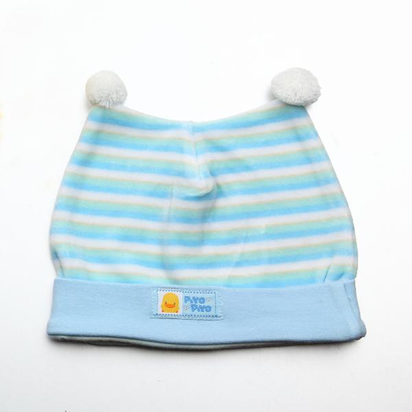 『121婦嬰用品館』黃色小鴨 橫條雙角嬰兒帽 1