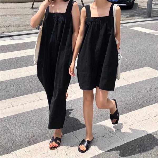 閨蜜裝黑色吊帶褲連身褲平口寬褲闊腿褲寬鬆顯瘦長褲短褲韓國孕婦裝ANNAS.