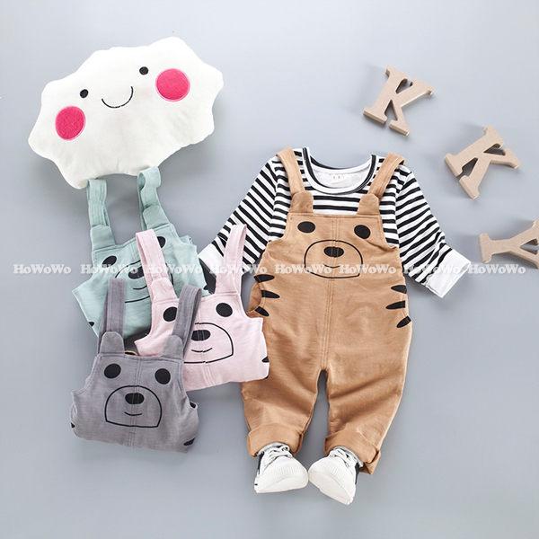 長袖套裝 條紋上衣+小熊吊帶褲連身衣 YN0913 好娃娃