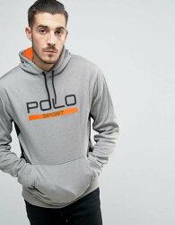 美國百分百【Ralph Lauren】RL 小馬 連帽 帽T T恤 長袖 POLO SPORT 灰色 S M號 I554