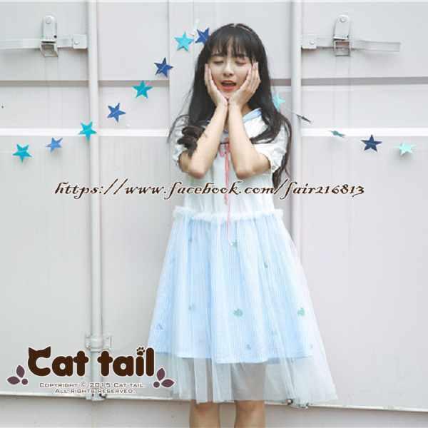 《貓尾巴》TS-0933韓版學院風泡泡袖短袖連身裙(森林系日系棉麻文青清新)