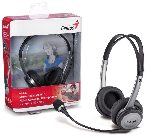 「YEs 3C」福利品 GENIUS 昆盈 HS-04B 高質感抗噪 耳機 麥克風 頭戴 耳罩 線控