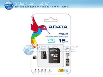 「YEs 3C」全新 ADATA 威剛 microSDHC UHS-I SD 16GB 16G CLASS 10 Class10 CL10 記憶卡 有發票 6ne yes3c
