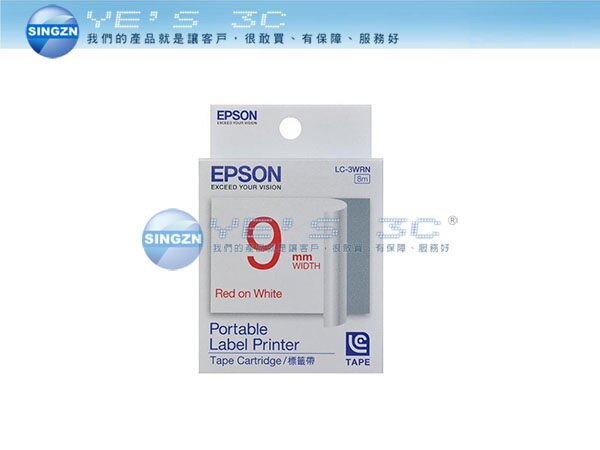 「YEs 3C」EPSON 愛普生 LC-3WRN 標籤帶 一般系列 白底紅字 9mm W-500/LW-700