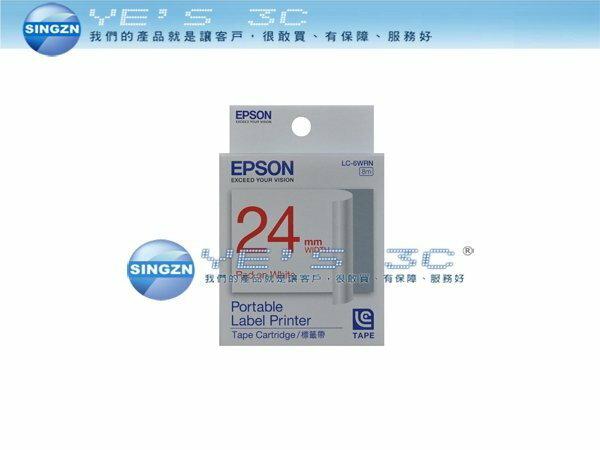 「YEs 3C」EPSON 愛普生 LC-6WRN 標籤帶 一般系列 白底 紅字 C53S627002 24mm 免運 yes3c 4ne