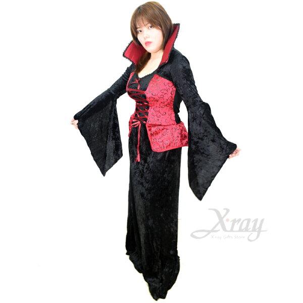 X射線【W380159】紅馬甲吸血鬼(女人),死神巫婆尾牙萬聖聖誕大人變裝cosplay表演攝影寫真德古拉話劇皇后