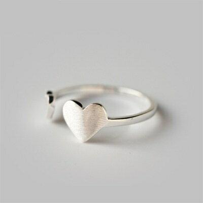 925純銀戒指開口戒~霧面拉絲愛心 情人節生日 女飾品73dt343~ ~~米蘭 ~ ~