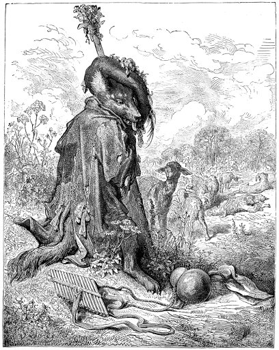 La Fontaine Fables NThe Wolf Turned Shepherd Wood Engraving After Gustave Dor For Jean De La FontaineS Fable C1870 Poster Print by (24 x 36) a421cf4265a81348e1aaa8b87f1c49ae