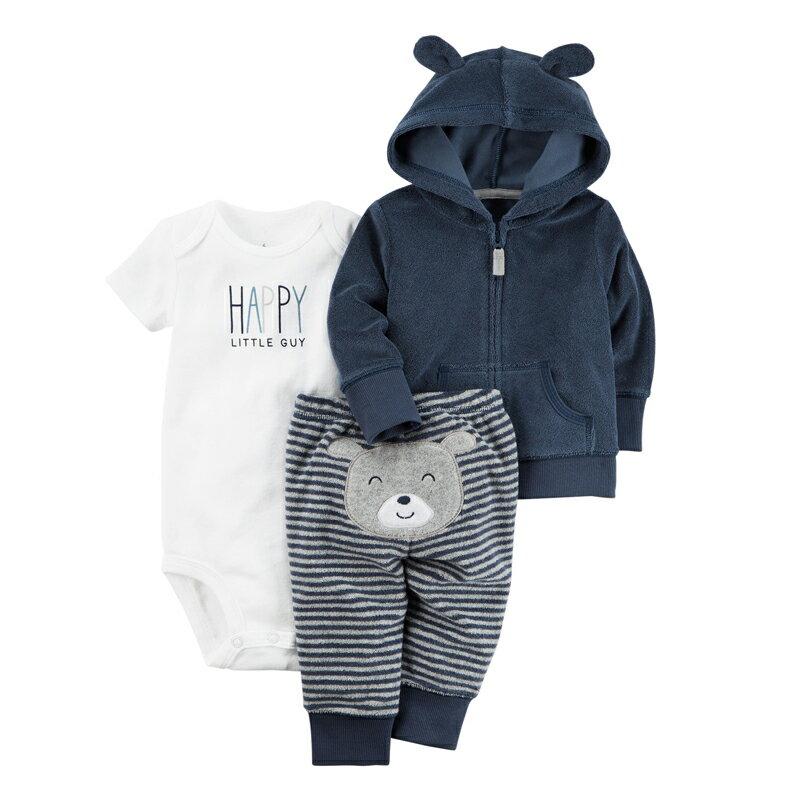 快樂小熊連帽外套條紋褲包屁衣三件式套裝