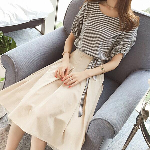 《全店75折》森林系格子棉麻套裝兩件套(S-XL,3色)-梅西蒂絲(現貨+預購)