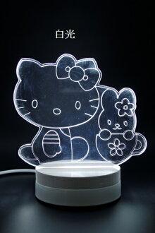 LED 造型 3D立體燈 HELLO KITTY 可變換3種燈色 高雅白色 半木質底座 質感佳 小夜燈 氣氛燈 生日禮物 聖誕禮物