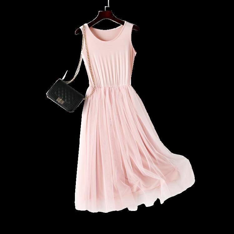 連身裙女春秋新款網紗打底裙法式長裙莫代爾大尺碼內搭背心裙背心裙