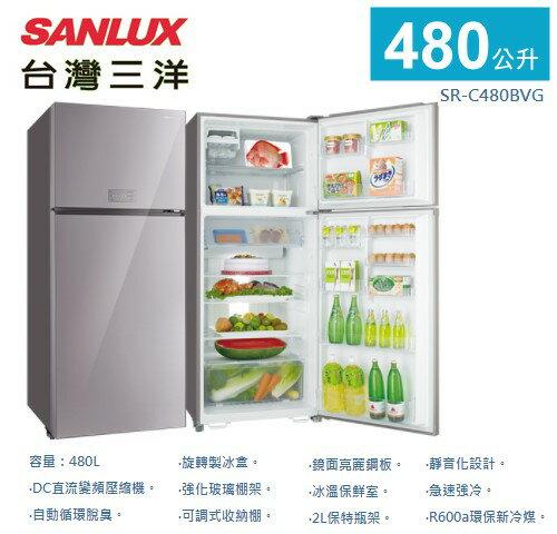 【佳麗寶】-《台灣三洋SANLUX》變頻雙門冰箱-480L【SR-C480BVG】