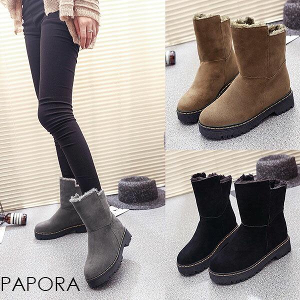 兩穿式超保暖絨面雪靴(3色)