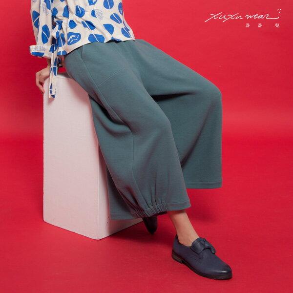 許許兒:許許兒∵日常生活-有機棉寬腳褲-湖水藍