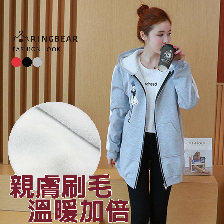 保暖外套--個性線條剪接袖優雅女孩印圖抽繩連帽外套(黑.灰.紅L-3L)-J321眼圈熊中大尺碼 0