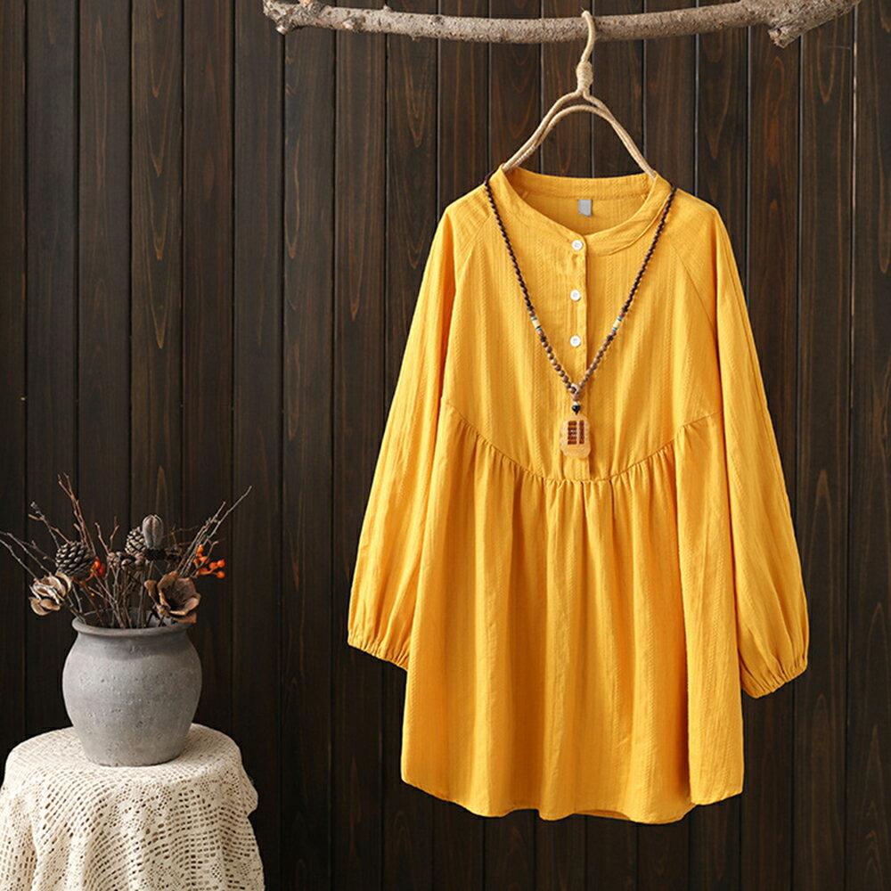 日系森女緹花寬鬆棉麻中長款長袖襯衫(3色XL~4XL)*ORead* 0