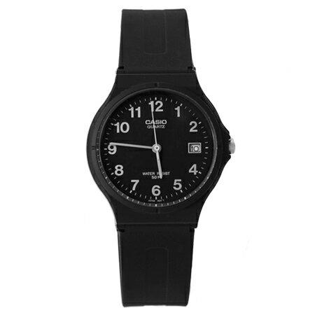 CASIO卡西歐經典基本款手錶 沉穩全黑中性款腕錶 升級日期窗設計 柒彩年代【NE1605】原廠公司貨