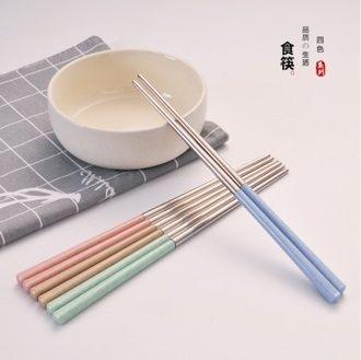 {99免運}【麥元素北歐風】(1入)小麥304不鏽鋼環保筷(顏色隨機出貨)