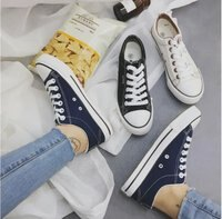 情人節禮物推薦到FINDSENSE品牌 男女情侶款 休閒 撞色 低幫 系帶 圓頭 帆布鞋 低跟鞋 平底鞋