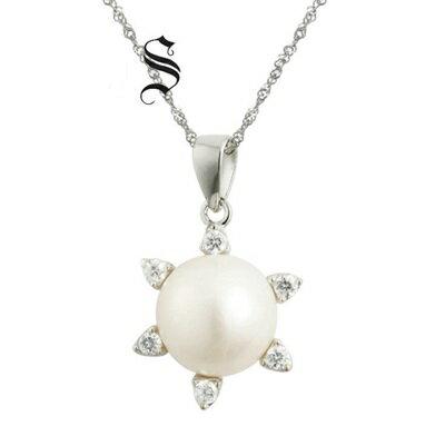 ~925純銀項鍊 珍珠吊墜~ 百搭鑲鑽 生日情人節 女飾品2色73dh2~ ~~米蘭 ~