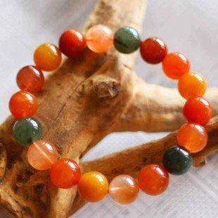 飾品水晶手鏈髮晶手鏈通透油亮多彩福祿壽手鏈12mm