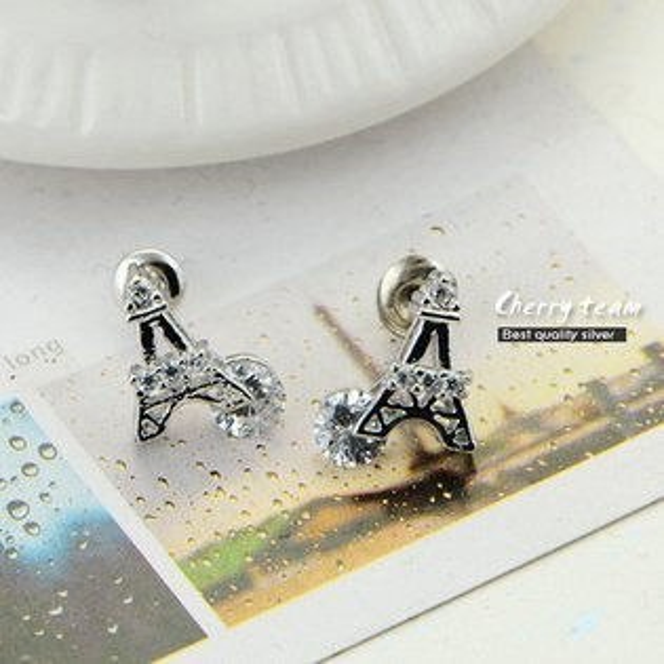925銀鐵塔造型耳環【櫻桃飾品】【20402】