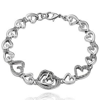 純銀手鍊 鍍白金鑲鑽手環 ~愛心精緻 母親節生日情人節 女飾品73cd83~ ~~米蘭 ~
