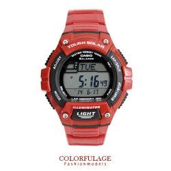 CASIO卡西歐 環保太陽能錶盤 酷勁紅電子手錶.腕錶 旅程突破 防水100米 柒彩年代【NE1282】原廠貨