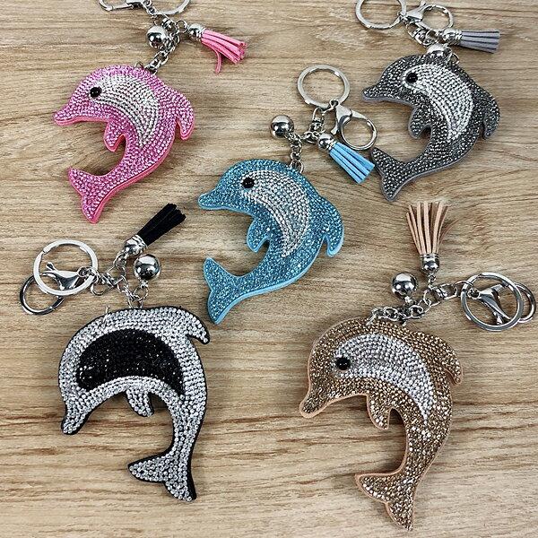 吊飾-貼鑽流蘇鑰匙圈-海豚-2050-1-JII