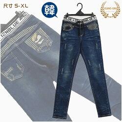 牛仔褲  韓 羅紋質感綠色格紋小直褲→中腰牛仔褲【150105-403】牛仔大學(S~XL)