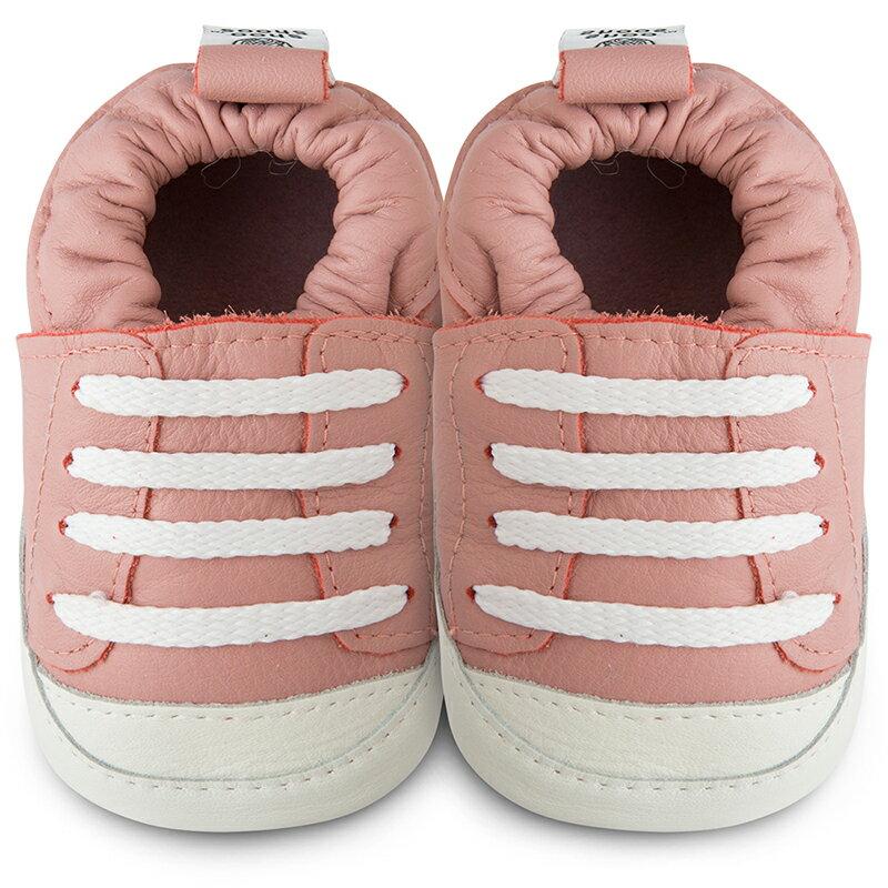 【hella 媽咪寶貝】英國 shooshoos 健康無毒真皮手工學步鞋/嬰兒鞋 粉橘運動款 (SS103348)(公司貨)