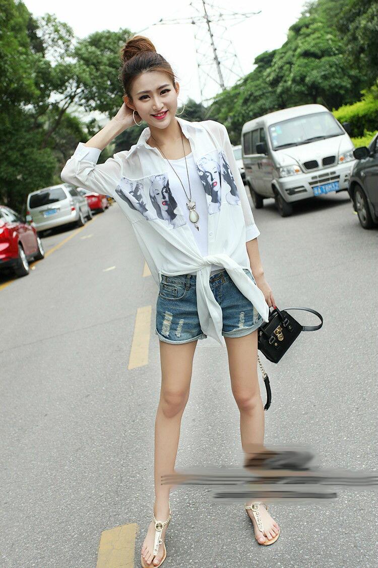 [夏日必備款]시퐁 셔츠雪紡衫防紫外線開衫外套中長款瑪麗蓮夢露防曬衣十天預購+現貨