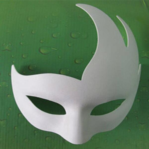 塔克玩具百貨:紙面具火焰半罩(附鬆緊帶)火影忍者小天鵝畫臉白面具空白面具DIY白色面具【塔克】