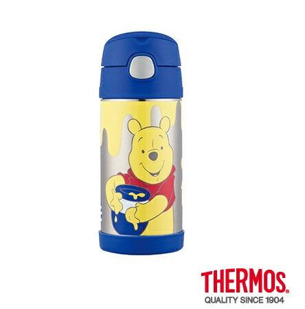 【安琪兒】日本【Thermos】不銹鋼真空吸管瓶(附水壺袋)-小熊維尼 - 限時優惠好康折扣