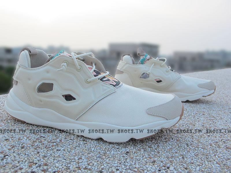 [26.5cm] Shoestw【V67074】Reebok FuryLite GP 民族風 圖騰 米白色 白色 PUMP 襪套 男生