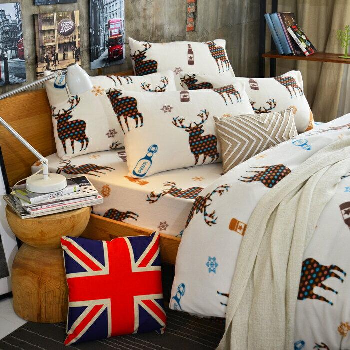 Pure One 超保暖搖粒絨 - 北歐麋鹿-咖 @ 雙人四件式床包被套組 @ 台灣製 @ SGS檢驗合格 - 限時優惠好康折扣