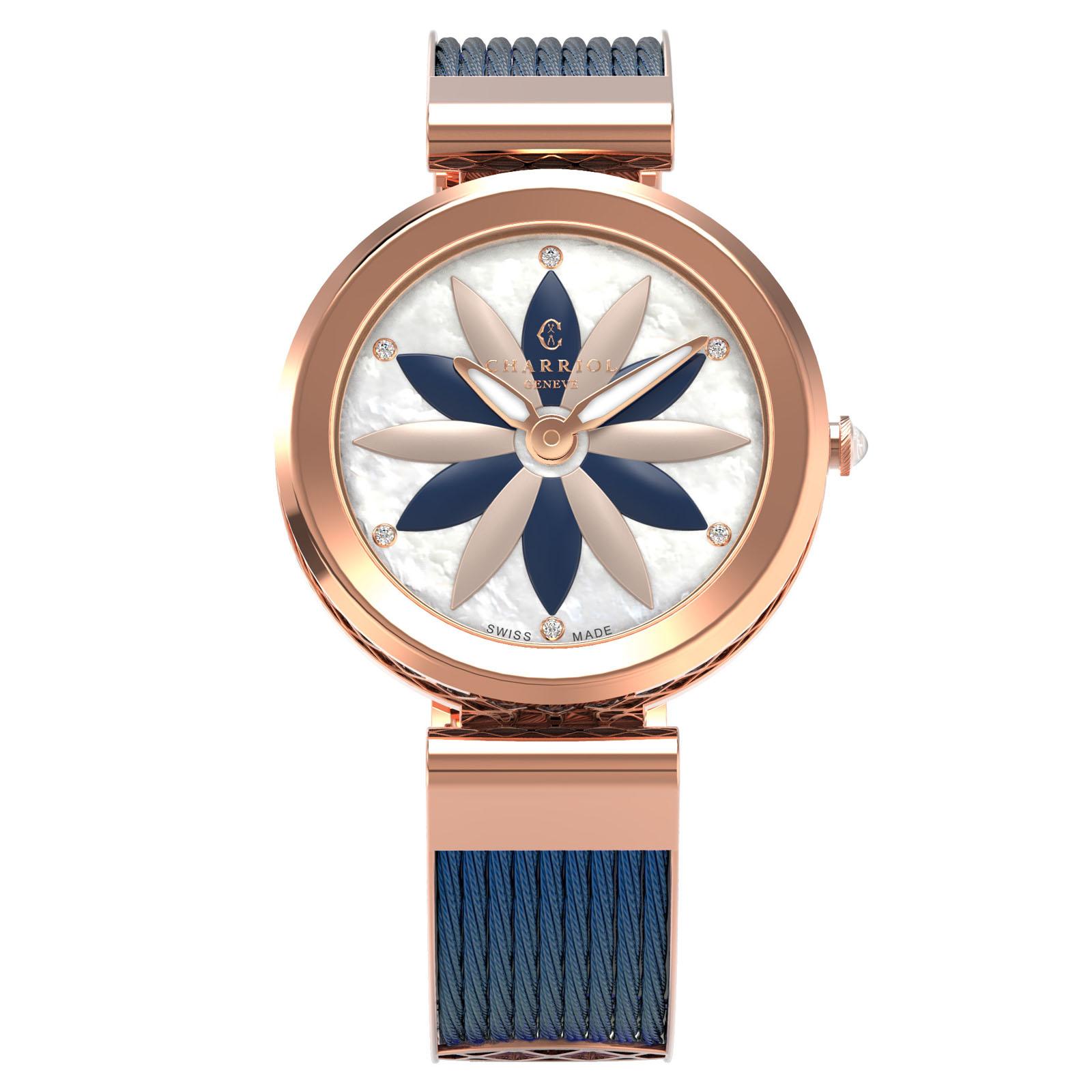 CHARRIOL夏利豪(FE32.F02.0F2)Forever系列半鋼索花朵時尚腕錶/珍珠母貝面32mm