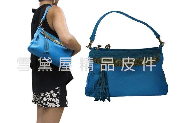 ~雪黛屋~ITALIDUCK肩側包中容量二層主袋台灣製造100%進口牛皮革+棉質內裡布附二組長短背帶ID9158A