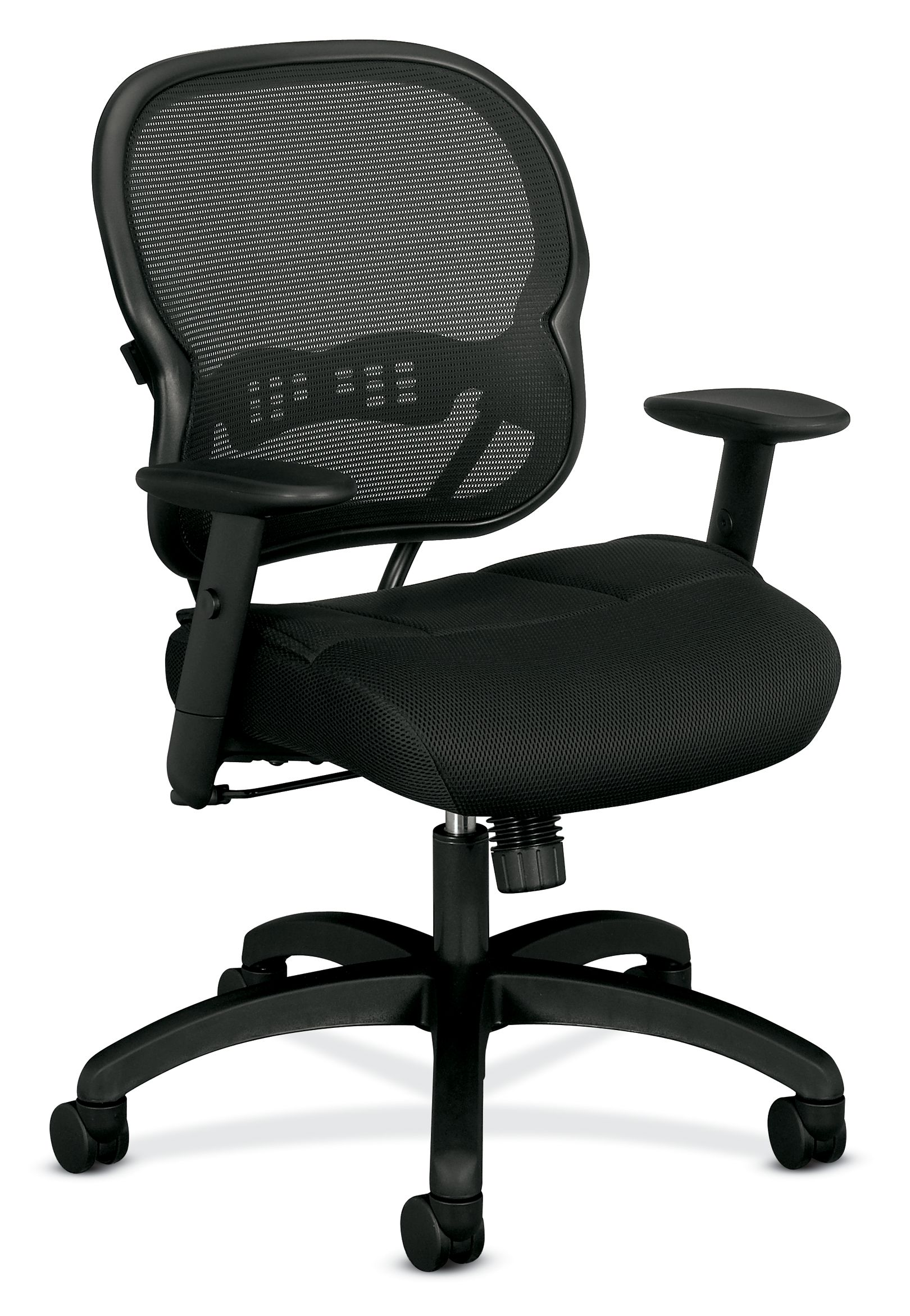 Terrific Hon Wave Mid Back Chair Mesh Office Or Computer Chair With Adjustable Arms Black Vl712 Home Interior And Landscaping Transignezvosmurscom