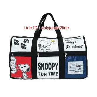 【真愛日本】16121600057寬底手提側背旅行袋-SN六格圖    史努比 SNOOPY   旅行袋 收納袋