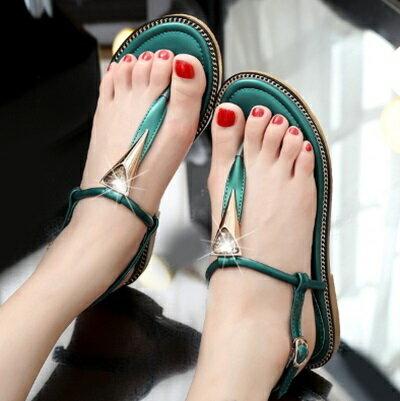 ~平底鞋水晶羅馬涼鞋~T字 優雅璀璨女鞋子2色73ey8~ ~~米蘭 ~