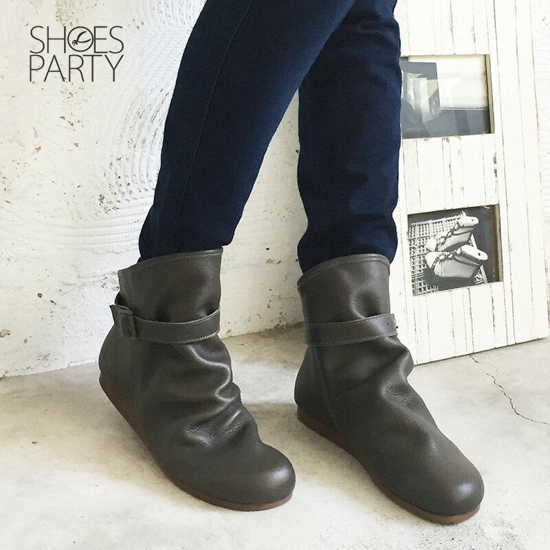 預購【F2-18106L】扣帶自然皺褶真皮中筒靴-日本製 2