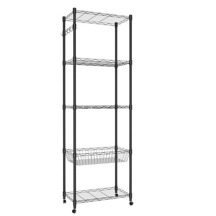 5-Tier Steel Shelving 71inch Height with Wheels 2