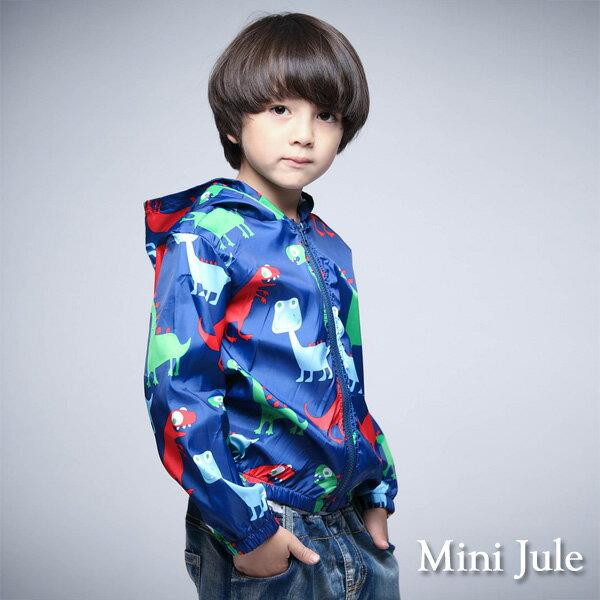 Azio Kids美國派:《MiniJule童裝》外套多彩恐龍縮口連帽拉鍊風衣外套(藍)