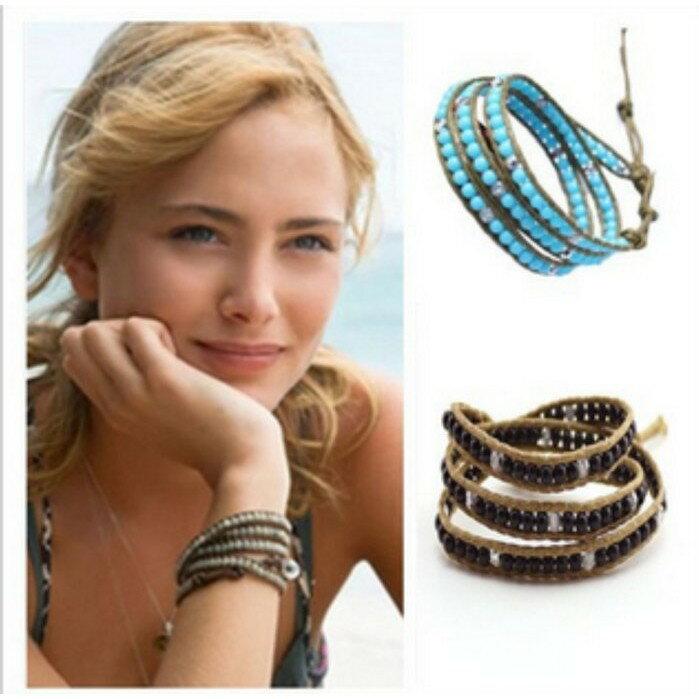 飾品大出清! 仿日本天然瑪瑙虎眼松石 多層纏繞編織手環 男女適用 jeseny bracelet 民俗風 超好看 J25
