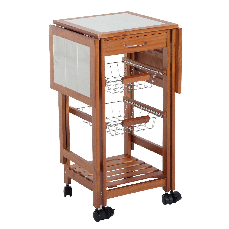 HomCom Rolling Tile Top Wooden Drop-Leaf Kitchen Trolley Storage Cart