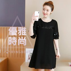 雪紡洋裝--優雅時尚珠飾亮片點綴圓領五分雙層荷葉袖連身裙(黑M-3L)-D465眼圈熊中大尺碼