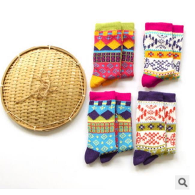 50%OFF【W07575SK】新品COCOVANILLA日系民族風粗線女襪純棉厚襪子中長筒